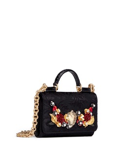 Dolce & GabbanaRose heart appliqué brocade crossbody phone case