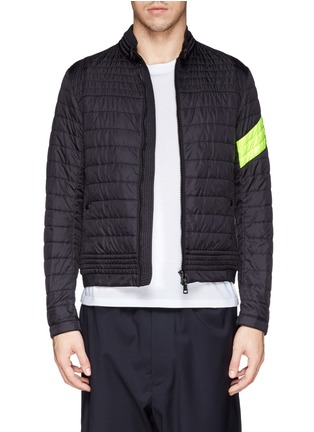 Main View - Click To Enlarge - Moncler - 'Roi' neon stripe quilted jacket