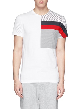 Moncler - 'Maglia' mix pattern panel cotton T-shirt