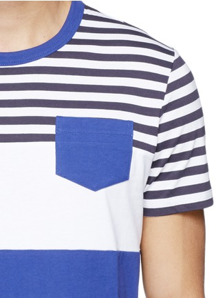 Detail View - Click To Enlarge - Moncler - Contrast stripe cotton T-shirt