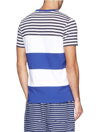 Back View - Click To Enlarge - Moncler - Contrast stripe cotton T-shirt
