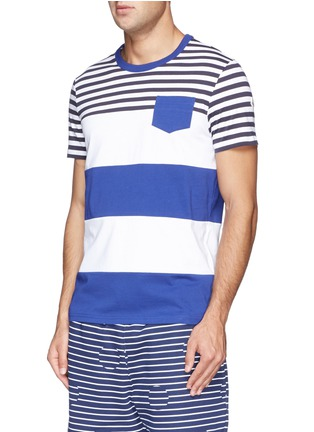 Front View - Click To Enlarge - Moncler - Contrast stripe cotton T-shirt