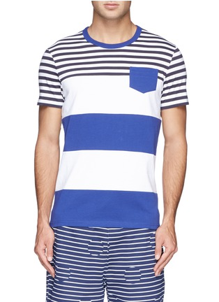 Main View - Click To Enlarge - Moncler - Contrast stripe cotton T-shirt