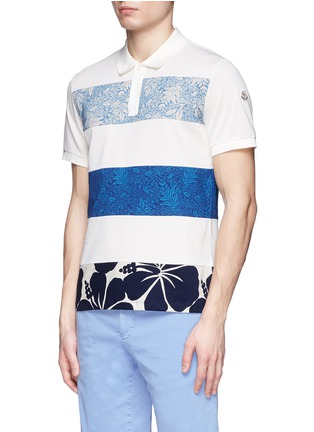 Front View - Click To Enlarge - Moncler - 'Maglia' floral stripe polo shirt