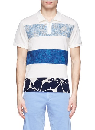 Main View - Click To Enlarge - Moncler - 'Maglia' floral stripe polo shirt
