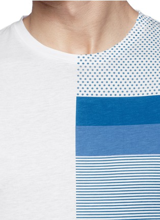 Detail View - Click To Enlarge - Moncler - 'Maglia' mix pattern panel cotton T-shirt