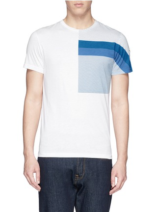 Main View - Click To Enlarge - Moncler - 'Maglia' mix pattern panel cotton T-shirt