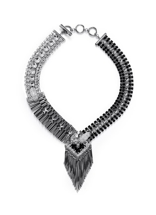 Main View - Click To Enlarge - IOSSELLIANI - Deco cheetah crystal fringe necklace