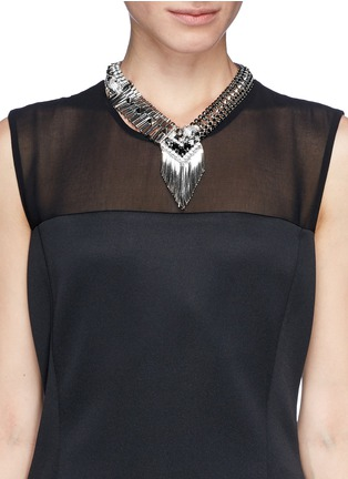 Figure View - Click To Enlarge - IOSSELLIANI - Deco cheetah crystal fringe necklace
