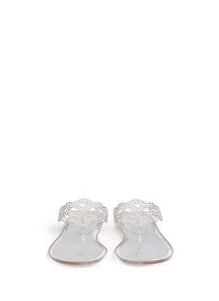 Front View - Click To Enlarge - Stuart Weitzman - 'Mermaid' crystal jelly flip flops