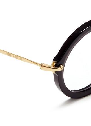 Detail View - Click To Enlarge - miu miu - Metal temple round acetate frame optical glasses