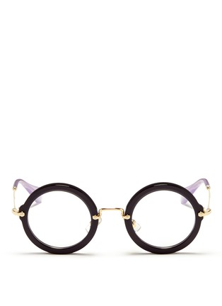 Main View - Click To Enlarge - miu miu - Metal temple round acetate frame optical glasses