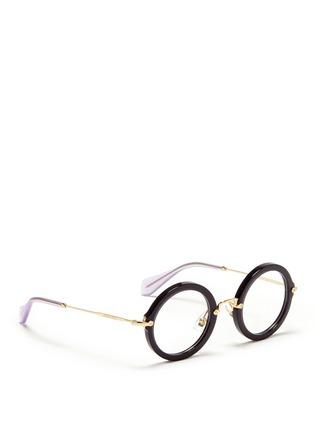 Figure View - Click To Enlarge - miu miu - Metal temple round acetate frame optical glasses