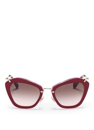 Main View - Click To Enlarge - miu miu - 'Noir' glitter cat eye acetate sunglasses