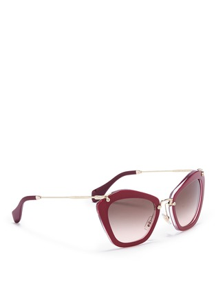 Figure View - Click To Enlarge - miu miu - 'Noir' glitter cat eye acetate sunglasses