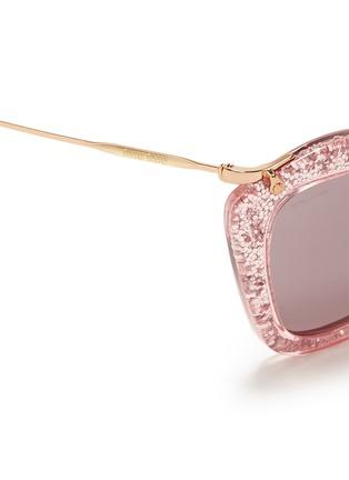 Detail View - Click To Enlarge - miu miu - 'Noir' glitter cat eye acetate sunglasses
