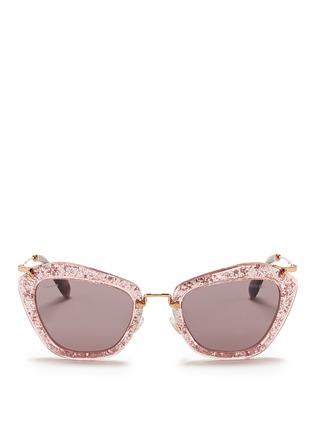 Main View - Click To Enlarge - miu miu - 'Noir' glitter cat eye acetate sunglasses