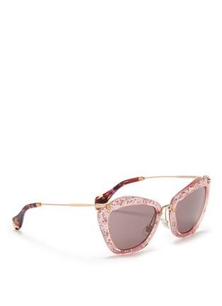 Figure View - Click To Enlarge - miu miu - 'Noir' glitter cat eye acetate sunglasses