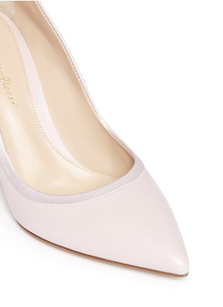 Detail View - Click To Enlarge - Gianvito Rossi - Satin trim leather pumps