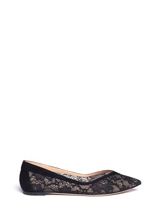 Main View - Click To Enlarge - Gianvito Rossi - Suede trim lace flats