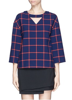 THAKOON ADDITIONCut out check print top