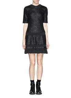 KENZORib insert lurex cloqué flounce dress