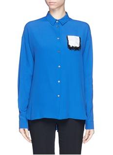 NO. 21Rose pailette embellished colourblock shirt