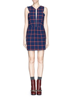 THAKOON ADDITIONCross back windowpane check print dress