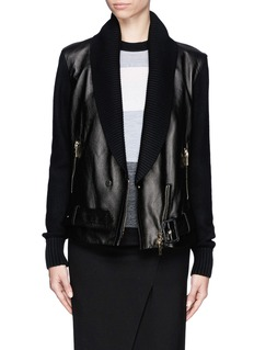 JASON WU Shawl collar leather biker jacket