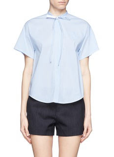 NO. 21Pinstripe poplin tie neck shirt