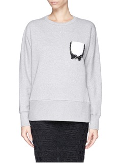 NO. 21 Sequin bead pocket sweatshirt