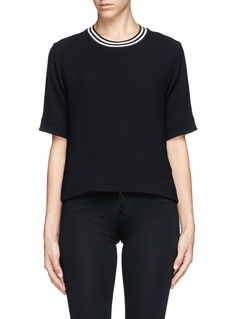 SANDRO 'Elien' stripe collar textured cropped top