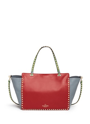 Back View - Click To Enlarge - Valentino - 'Rockstud' medium Italian Pop leather tote