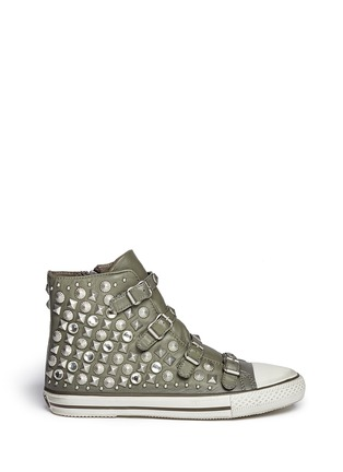 Main View - Click To Enlarge - Ash - 'Victim' strass and stud leather sneakers