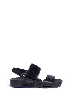 Figs By Figueroa 'Figulous' leather and fur hinged slingback sandals