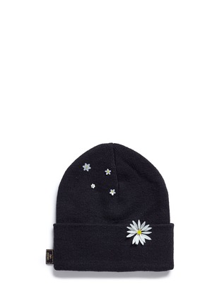 Figure View - Click To Enlarge - Piers Atkinson - Swarovski crystal embellished daisy beanie