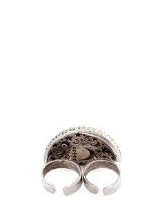 Delfina Delettrez Diamond silver eye two finger open ring