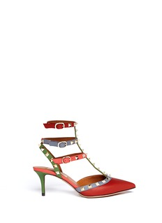 VALENTINO 'Rockstud' Italian Pop caged leather pumps