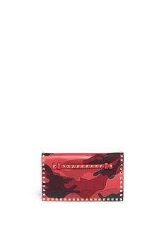 VALENTINO'Rockstud' camouflage foldover clutch