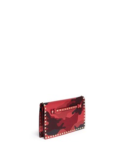 VALENTINO 'Rockstud' camouflage leather canvas flap clutch