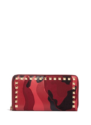 Main View - Click To Enlarge - Valentino - 'Rockstud' camouflage leather and canvas continental wallet