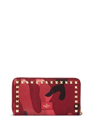 Figure View - Click To Enlarge - Valentino - 'Rockstud' camouflage leather and canvas continental wallet