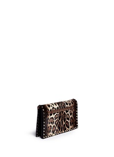 VALENTINO'Rockstud' leopard print pony hair foldover clutch