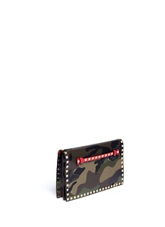 VALENTINO 'Rockstud' camouflage foldover clutch