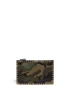 VALENTINO 'Rockstud' camouflage leather pouch