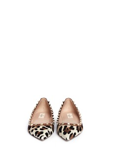 VALENTINO'Rockstud' leopard print calf hair flats