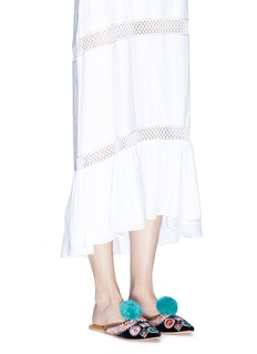 FIGUE SHOES'Suzanni' pompom embroidered velvet slides