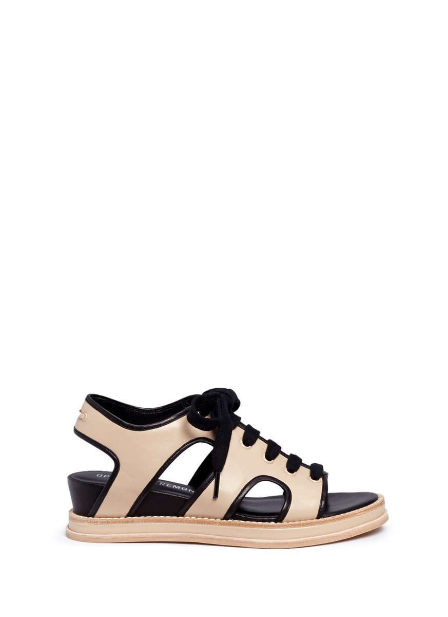 Idha lace-up cutout leather wedge sandals by Opening Ceremony