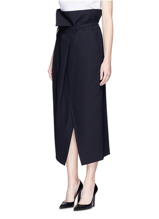 Front View - Click To Enlarge - ENFÖLD - Belted paperbag waist midi skirt