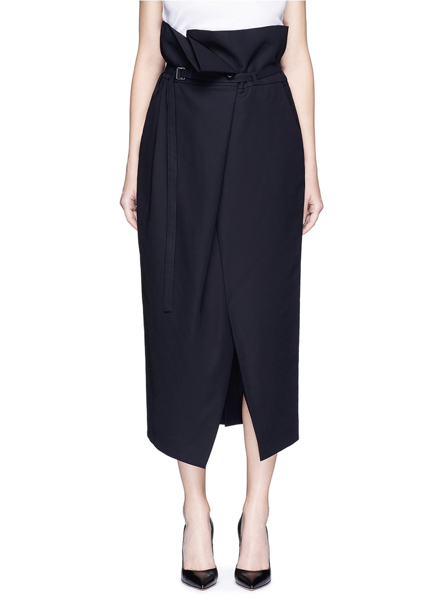 Belted paperbag waist midi skirt by ENFÖLD
